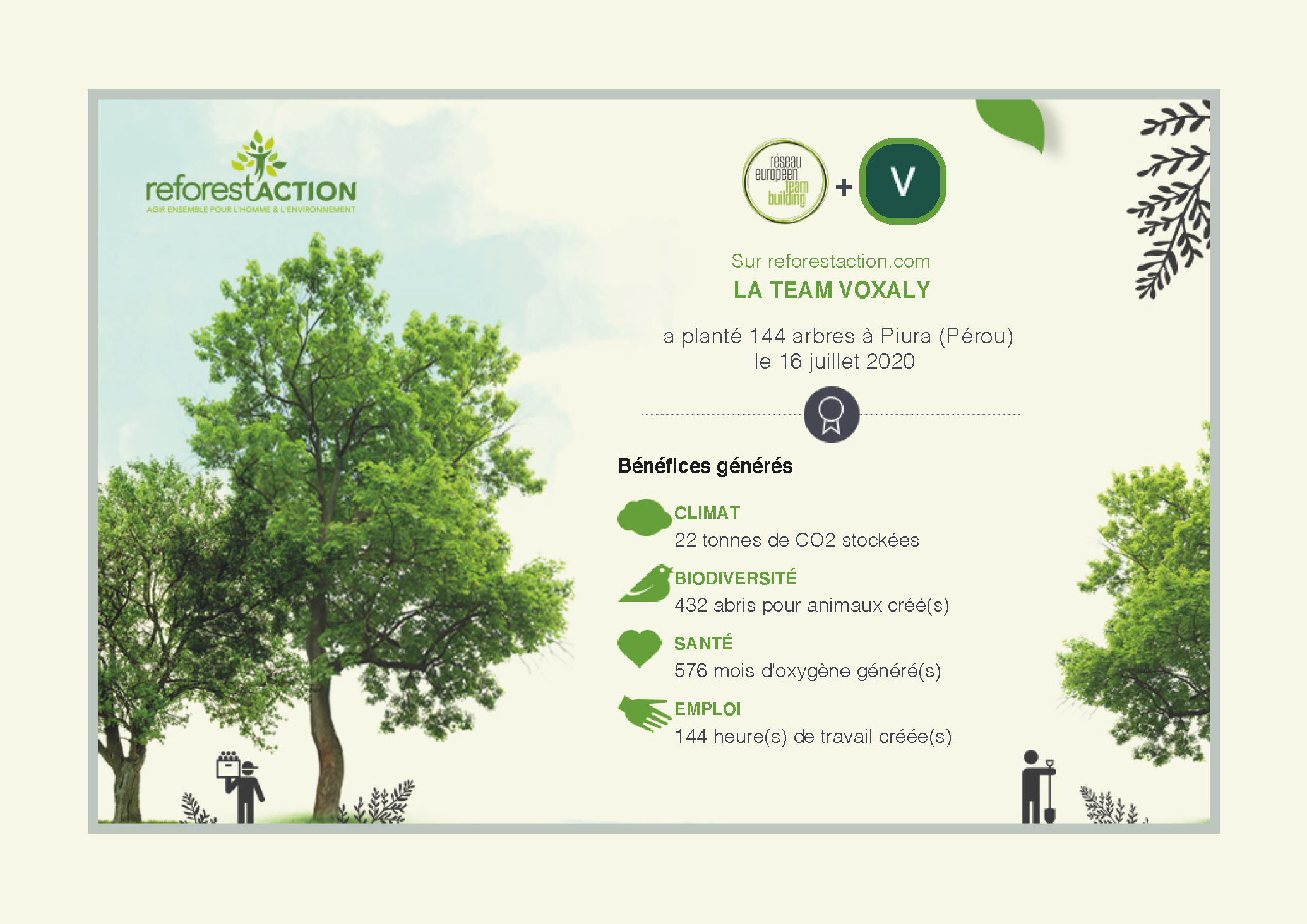 Certificat Voxaly reforestation
